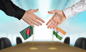 41070460 - bangladesh and india diplomats agreeing on a deal