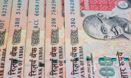 29860243 - a fan of one thousand rupee notes  indian currency