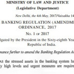 The Banking Regulation (Amendment) Ordinance, 2017: A Critique